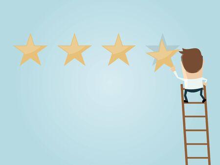 attaching: businessman attaching a premium quality star