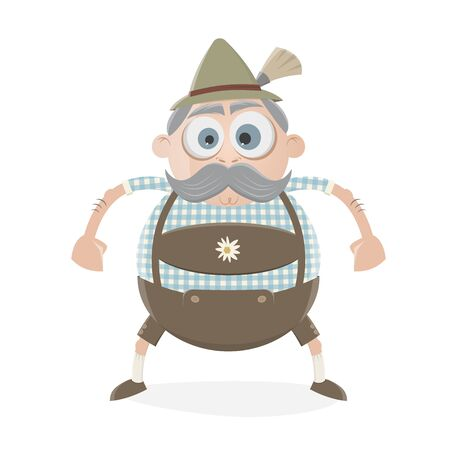 funny bavarian man in lederhosen Illustration