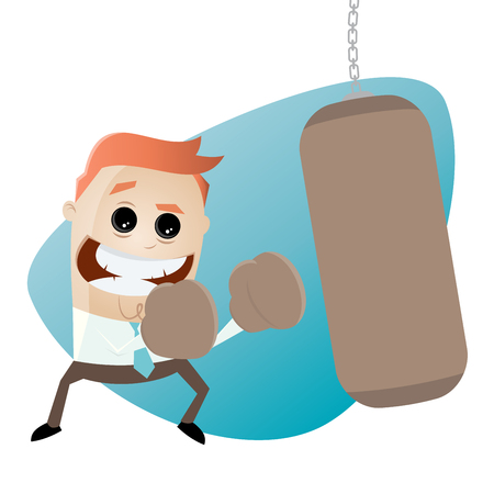 punched out: businessman with punching bag clipart