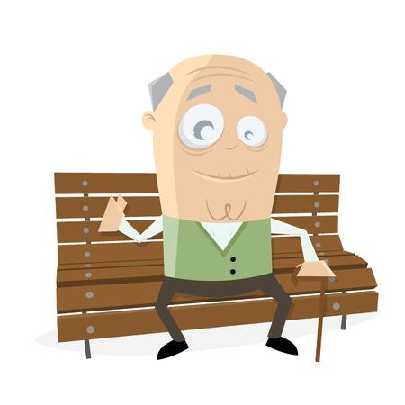 glücklich älterer Mann sitzt auf einer Bank