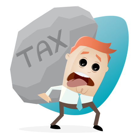 clipart of businessman carrying a big tax rock