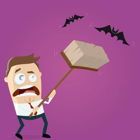 clipart of a man hunting bats with a broom