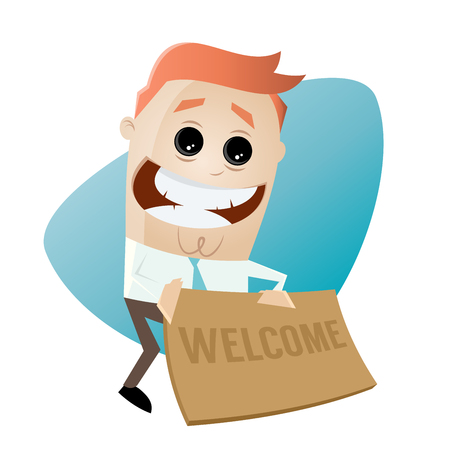 welcome mat: funny businessman with welcome mat Illustration