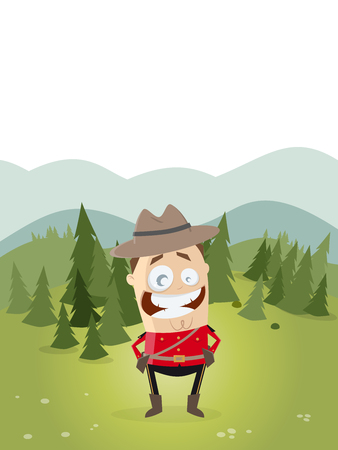 mountie: happy mountie with canadian landscape in background Illustration