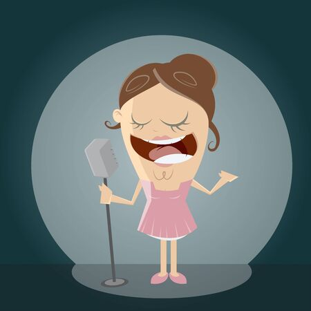 clipart of a singing girl Illustration