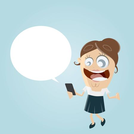 happy businesswoman with smartphone and empty speech bubble Illustration