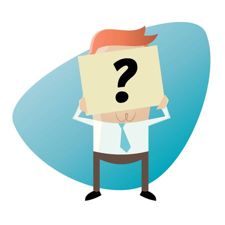 businessman hiding his face behind a question mark note Illustration
