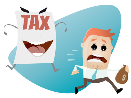 hysteria: afraid man running away from a tax assessment monster
