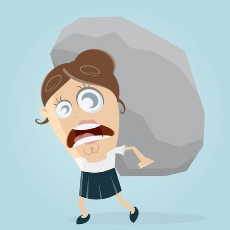 people problems: clipart of businesswoman carrying a big rock Illustration