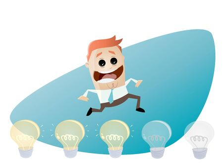 brainstorming businessman turning lights on Illustration