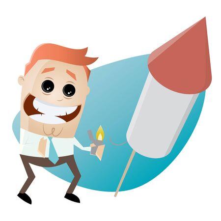 funny businessman starting a big fireworks rocket