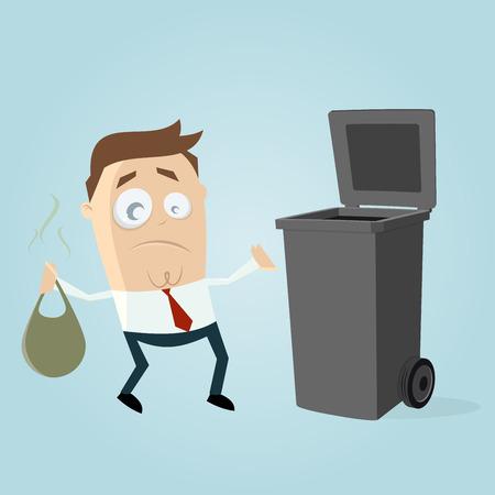 unhappy man taking out the rubbish Ilustração