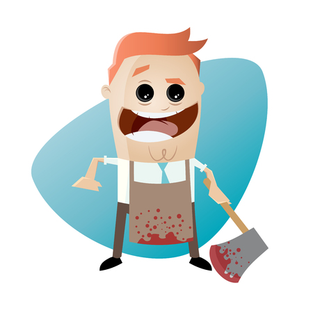 psychopath with bloody hatchet and apron