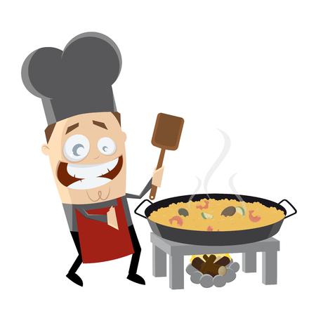 happy chef cooking Spanish paella