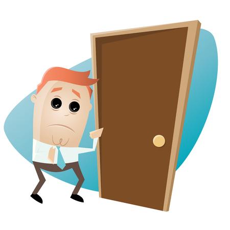 uneasy: Cartoon man is afraid of knocking on the door Illustration