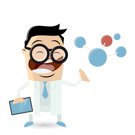 computer scientist: Funny cartoon scientist with molecule and tablet Illustration