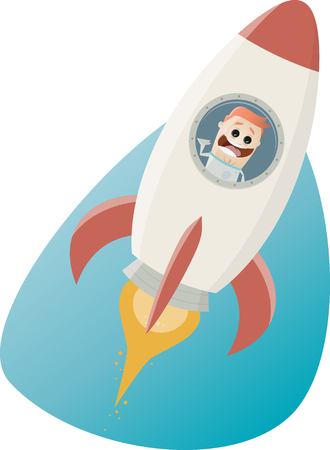 Funny astronaut flying in a space rocket Illustration
