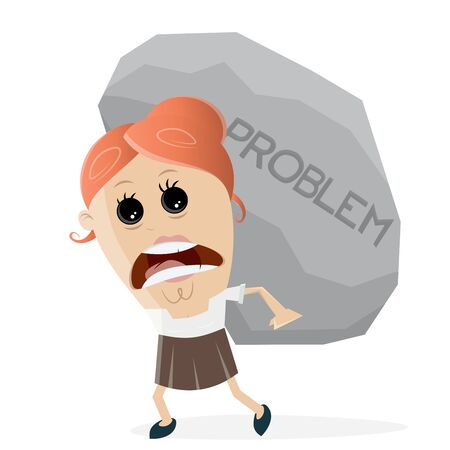 clipart of businesswoman carrying a big problem rock