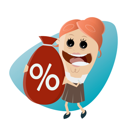 funny businesswoman with big discount bag Illustration