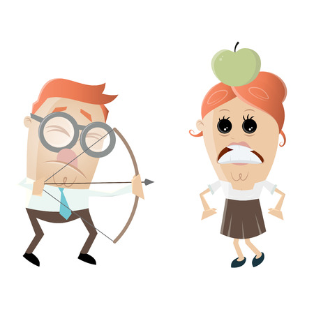 visually: visually impaired man aiming at a woman with an apple on her head