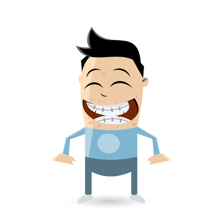 clipart of a funny teenager with acne and braces Illustration