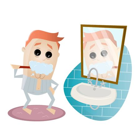 Funny cartoon man brushing his teeth.