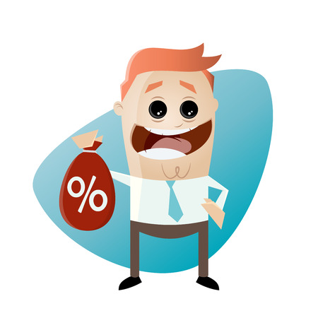 funny businessman with discount bag Illustration