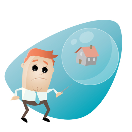skeptical: concerned businessman with house in a soapbubble and a needle
