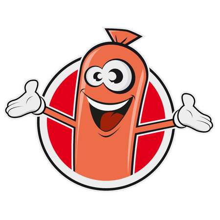 happy sausage in a badge