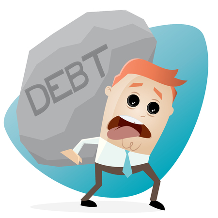 clipart of businessman carrying a big debt rock Illustration
