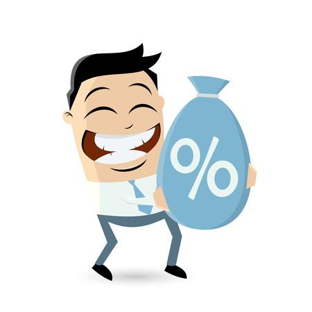 asian man smiling: businessman carrying a big discount bag Illustration
