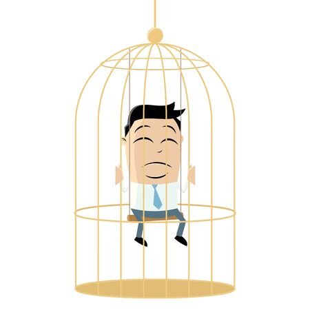 dreary: clipart of a sad businessman in birdcage Illustration