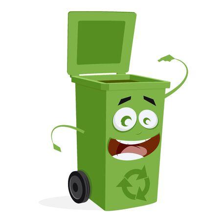 felice cestino in attesa di spazzatura