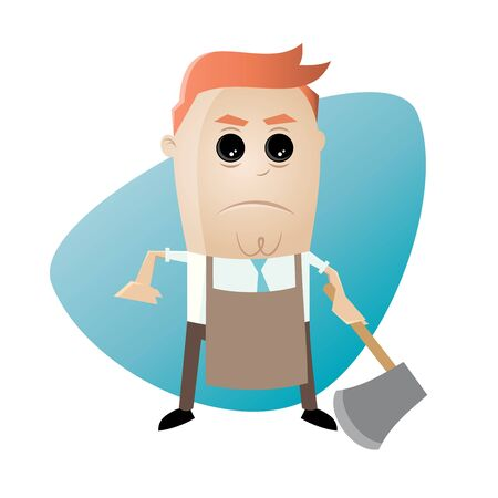 angry man with apron and hatchet