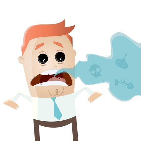 bad breath: businessman with bad breath