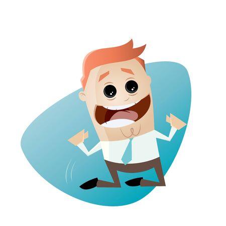 knees: happy businessman cheering on his knees