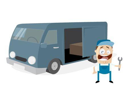 funny mechnic standing in front of a van