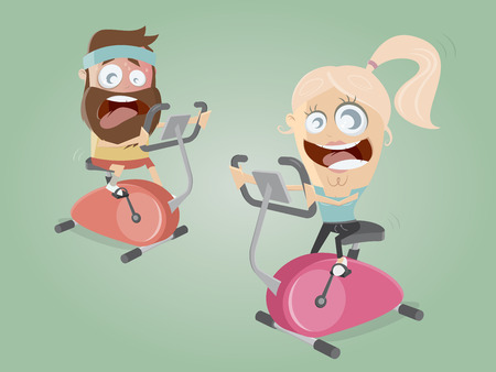 funny couple training on indoor bike trainer Illustration