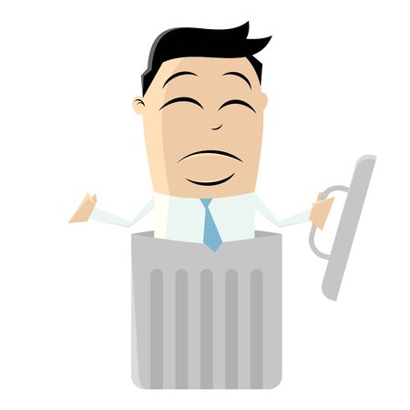 clipart of a man in a litter bin