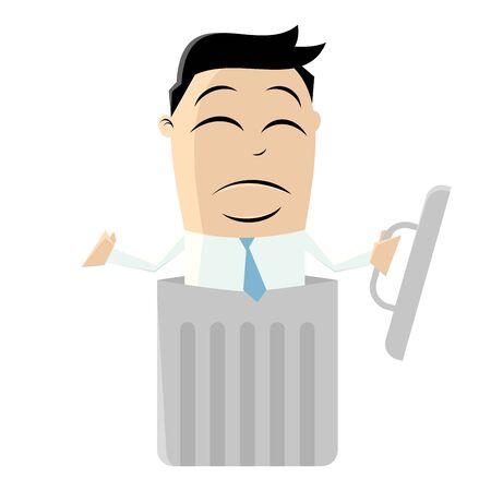 sad men: clipart of a man in a litter bin