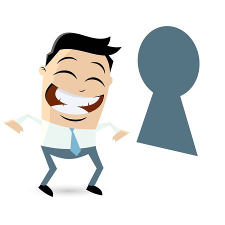 asian man smiling: funny businessman looking through keyhole