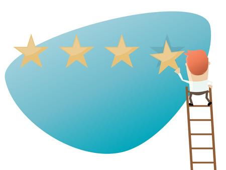 businessman attaching a premium quality star