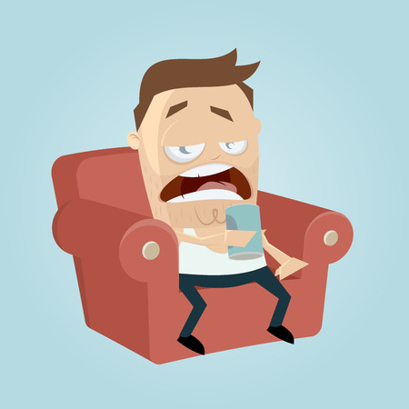 clipart of a bored man sitting on the sofa and drinking beer of a can