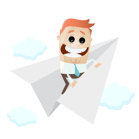 funny businessman on paper plane