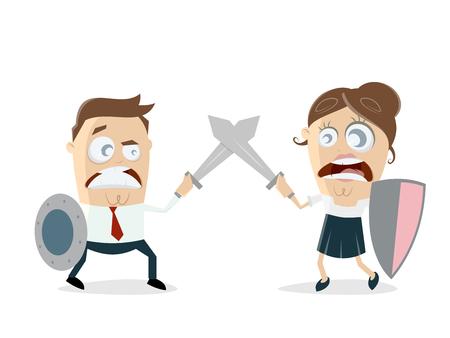 Mann gegen Frau kämpfen