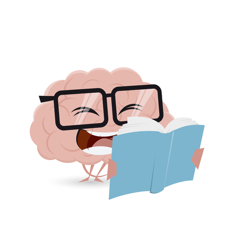 Funny cartoon brain reading a book Illustration