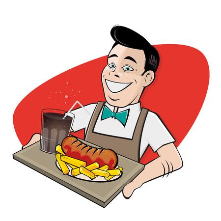 glücklicher Mann serviert deutsche Currywurst und Cola Illustration