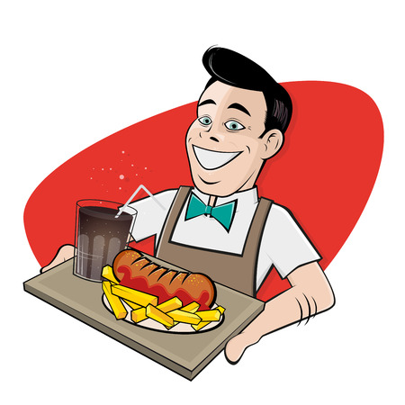 happy man serving german currywurst and cola
