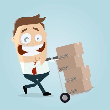 warehouseman: happy warehouseman with handcart and boxes