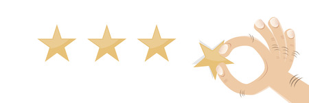 cartoon hand with golden rating stars